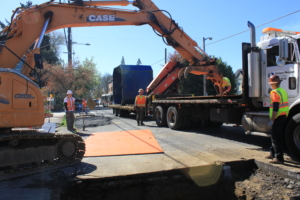 Shoring and traffic rated steel plate delivery from United Rentals Trench Safety