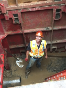 Andy in the Receiving Pit once the bursting tool penetrated through